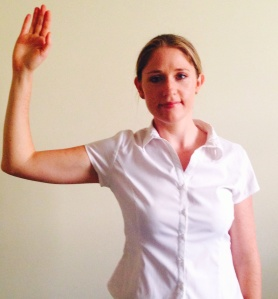 position: arm to your side with both the elbow and shoulder at 90 deg angles