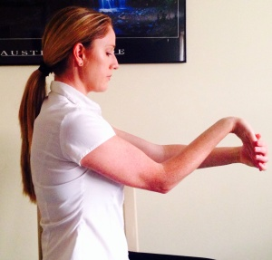 This is the starting position for stretching your flexors muscles in the forearm