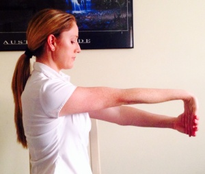 The end position for the forearm flexor muscles, hold and breathe
