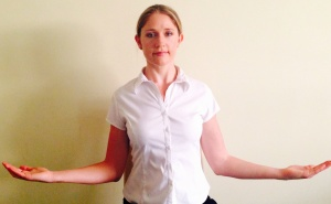 slowly rotate arms, gently squeeze shoulders back and together